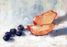 Nectarines Slices and Blueberries, 6 x 8 in. oil on canvas