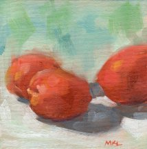Three Apricots, 6 x 6 inches oil on canvas panel Available for purchase at https://www.etsy.com/listing/477022397/small-original-oil-painting-of-apricots?ref=shop_home_active_7