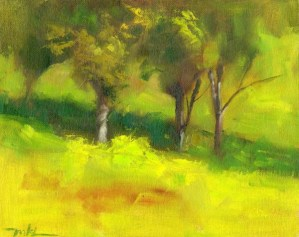 Trees at Capay Valley Vineyard, oil on canvas panel, 8 x 10 inches