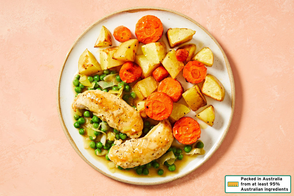 French-Style Chicken and Leek with Roasted Potatoes and Peas