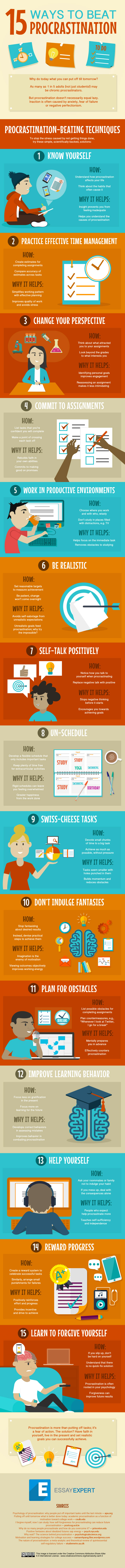 15 tips to overcome procrastination infographic