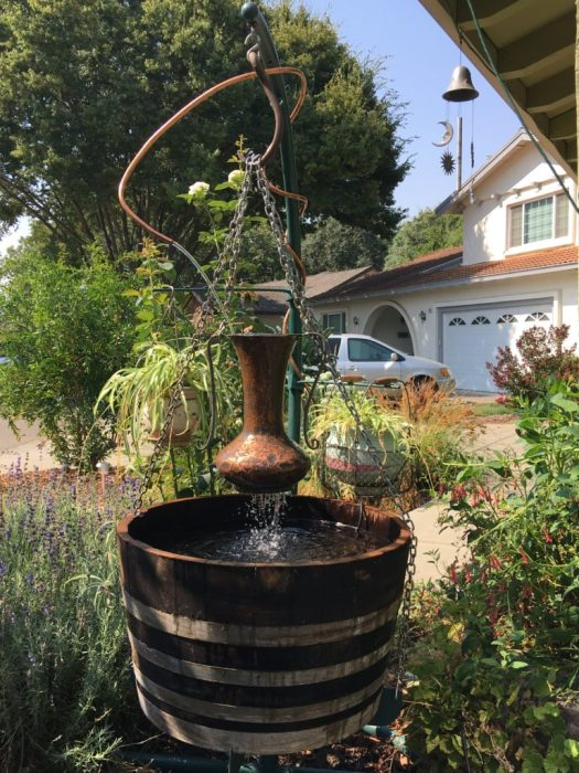 custom wine barrel fountain