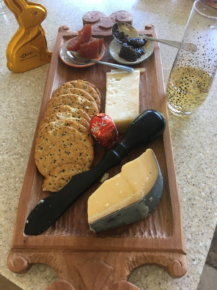 ebony cheese knife and hand carved cherry cheese board