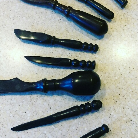 ebony cheese knives and dip spreaders