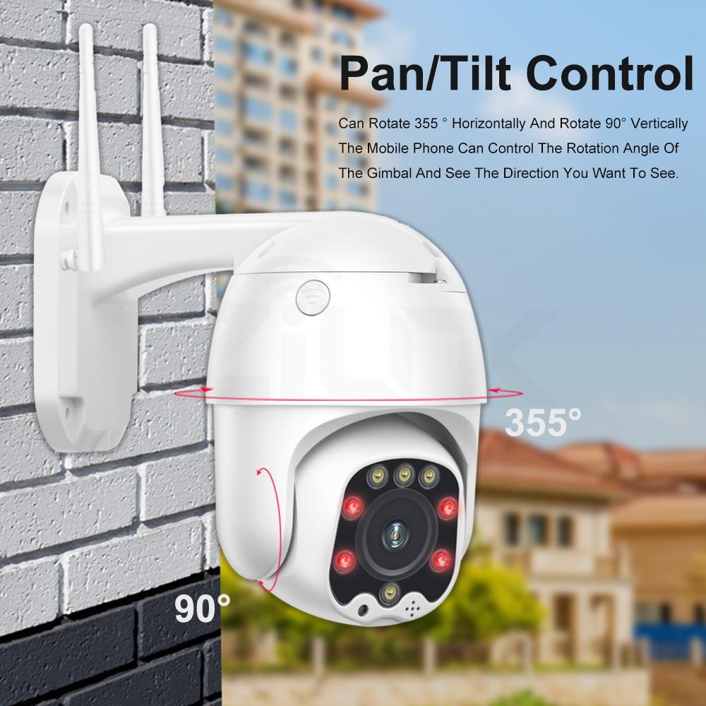 Camera sorveglianza PTZ - WIFI e LAN con risoluzione 1080P 5MP All'aperto 5X Zoom ottico e Led IR 30m A due Vie Audio.