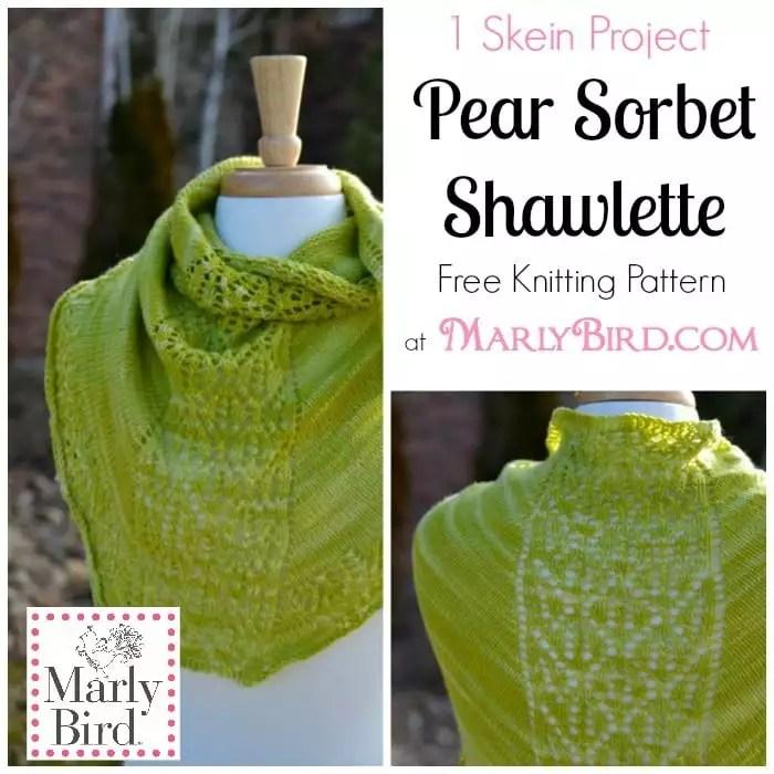 Free Knitting Pattern Pear Sorbet Shawlette Marly Bird