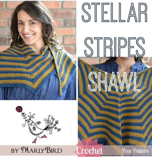 Stellar Stripes Crochet Shawl Free Pattern by Marly Bird