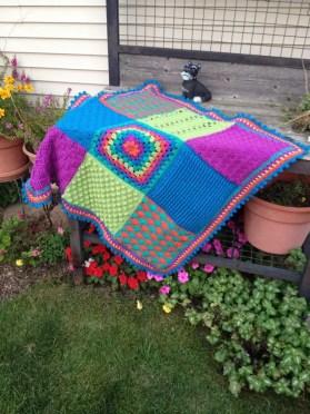 Stitch Sampler Baby Blanket by Marly Bird; crocheted by Jenni Castaneda. Free Pattern