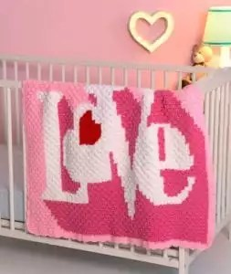 Red Heart Corner-to-Corner Heart Throb Blanket