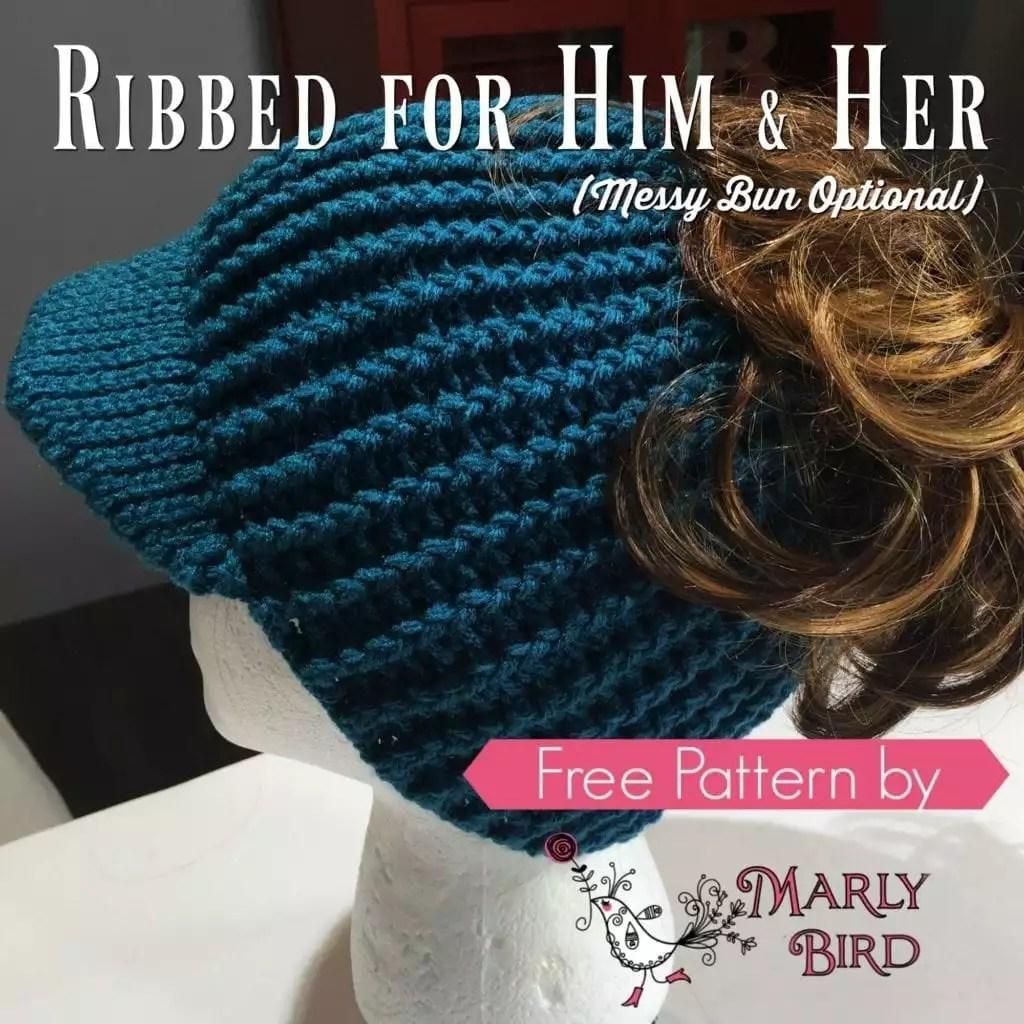 Free Crochet Messy Bun Hat Pattern by Marly Bird