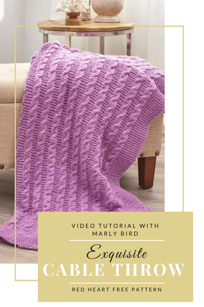 Tutorial For Easy Exquisite Cable Throw Knitting Pattern Marly Bird