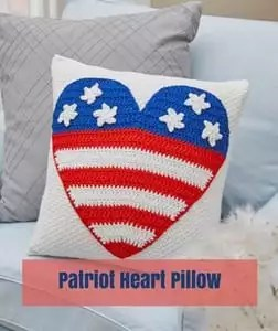 Patriot Heart Pillow Free Patriotic Crochet Pattern from Red Heart