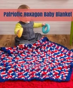 Patriotic Hexagon Baby Blanket Free Patriotic Crochet Pattern from Red Heart