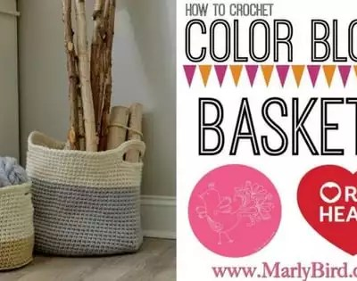 How to Crochet Hygge Color Block Crochet Baskets