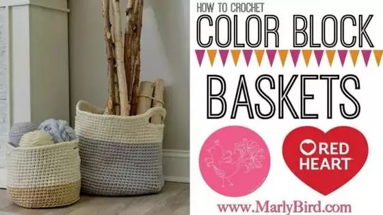 Video Tutorial how to Crochet the Color Block Crochet Baskets