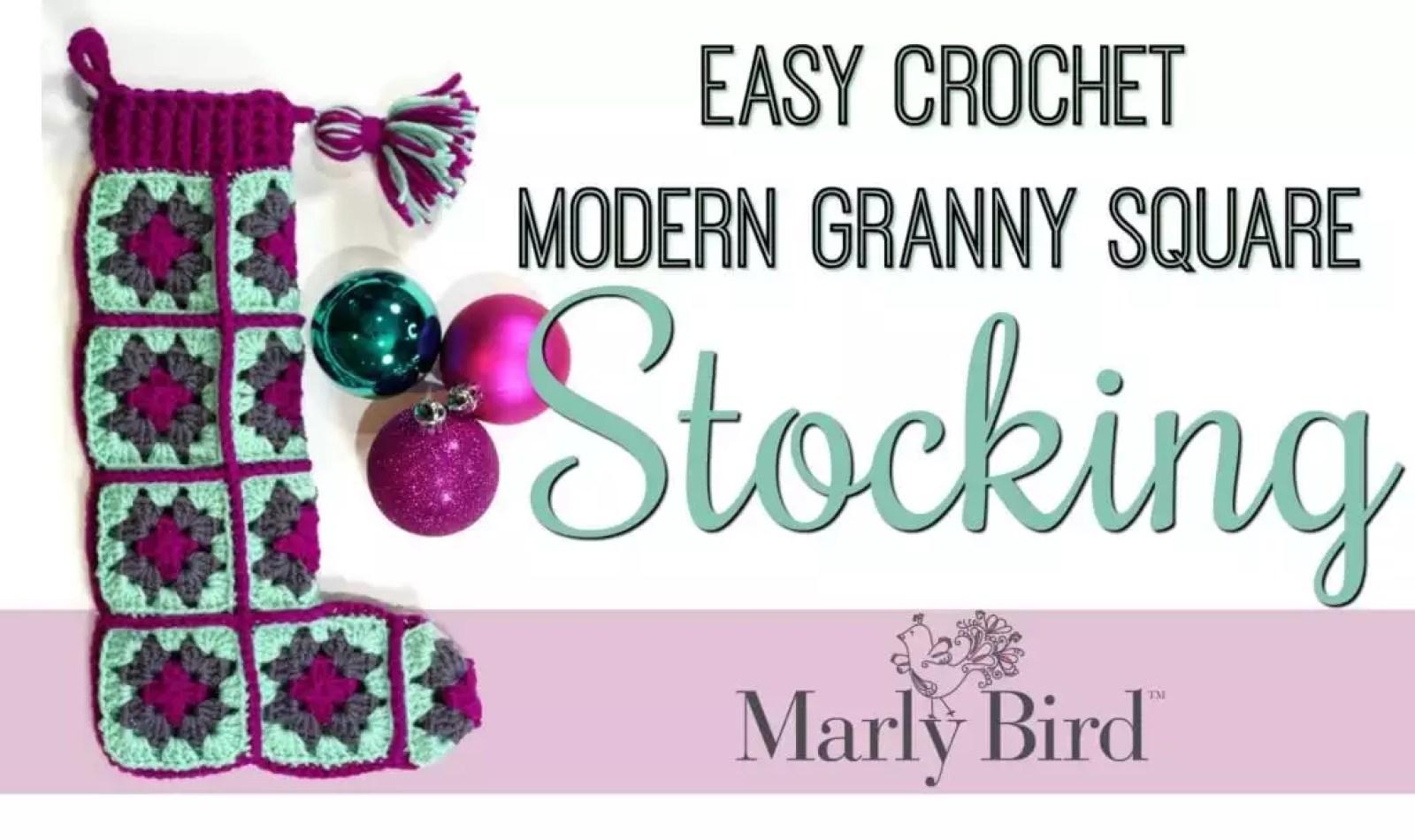 FREE Crochet Pattern Easy Crochet Modern Granny Square Stocking