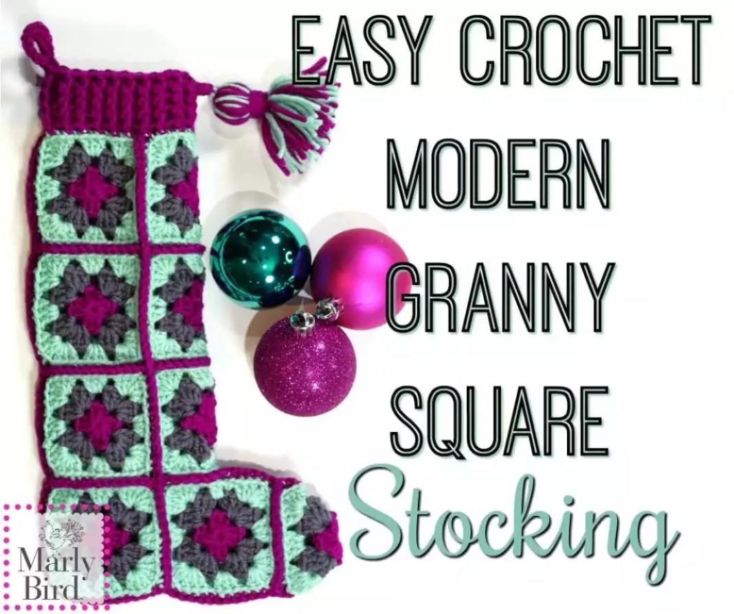 FREE PATTERN Easy Crochet Modern Granny Square Stocking