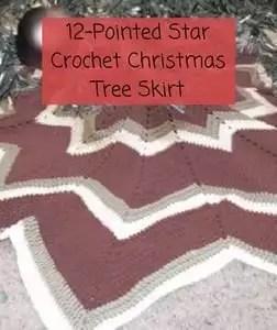 Free Crochet Christmas Tree Skirt Pattern-12-pointed Star Christmas Tree Skirt