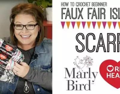 Faux Fair Isle Crochet Scarf-Video Tutorial with Marly Bird