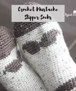 Crochet Mustache Slipper Socks