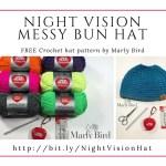 FREE Crochet Messy Bun Hat using Red Heart Reflective Yarn