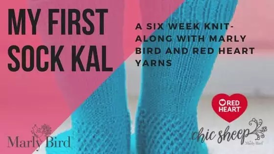 My First Sock KAL is a Knit-Along with Marly Bird and Red Heart Yarns