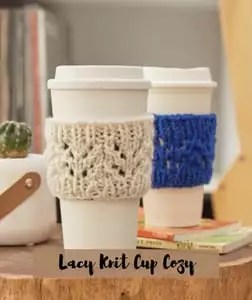 FREE pattern Lacy Knit Cup Cozy