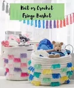 Knit or Crochet Fringe Basket