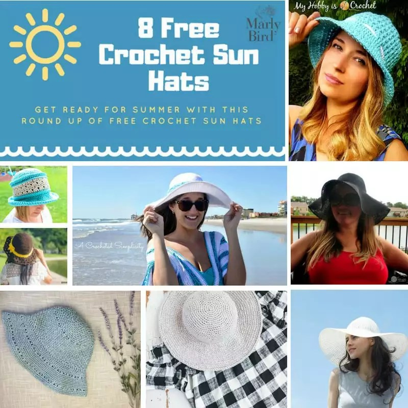 8bcc26cdc83 8 FREE Crochet Sun Hats for Summer - Marly Bird™