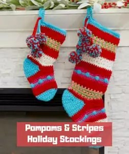 Pompoms & Stripes Holiday Stockings by Marianne Forrestal