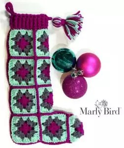 Easy Crochet Modern Granny Square Stocking FREE pattern