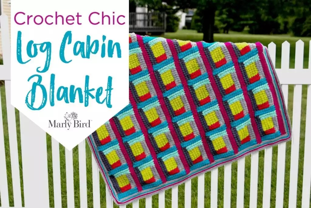 FREE Crochet Blanket Pattern-Crochet Chic Log Cabin Blanket by Marly Bird