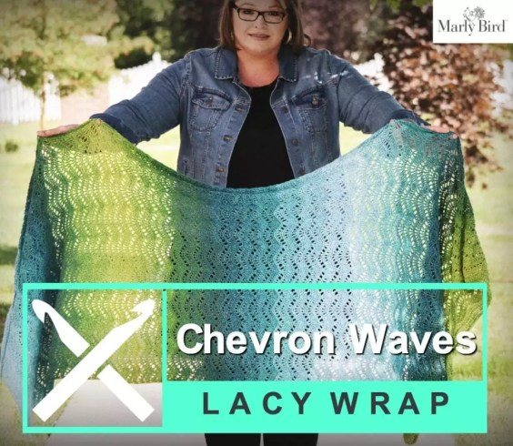 Chevron Waves Lacy Wrap free pattern by Marly Bird