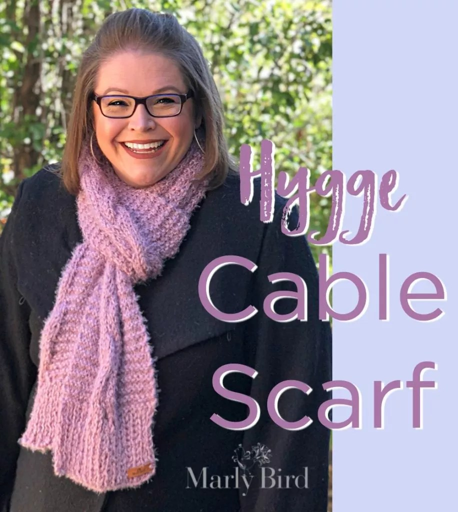 FREE Knit Scarf pattern by Marly Bird-Hygge Cable Scarf