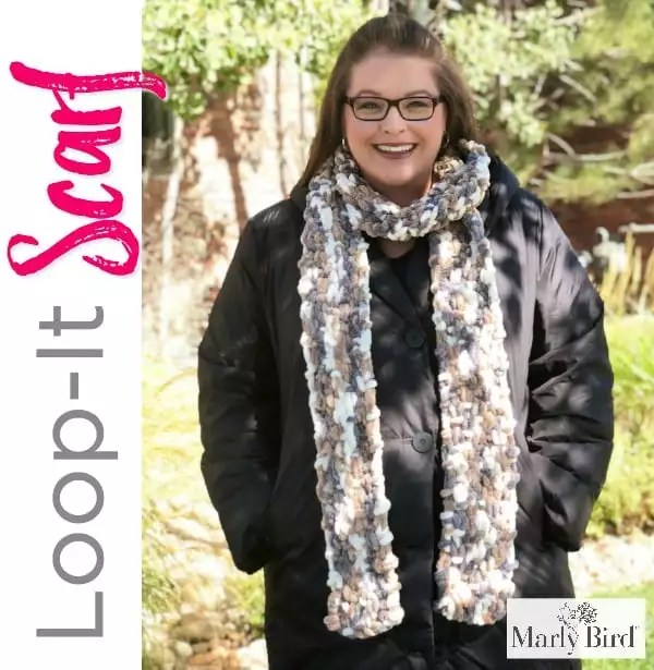 Loop-it Yarn By Red Heart Free Pattern by Marly Bird Loop-it Puffy Seed Stitch Scarf