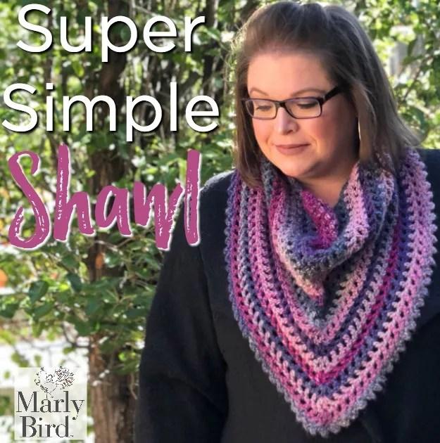 FREE Super Simple Crochet Shawl-Beginner crochet shawl pattern