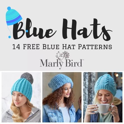 Knit Hats and Crochet Hats all in blue-14 FREE Blue Hats