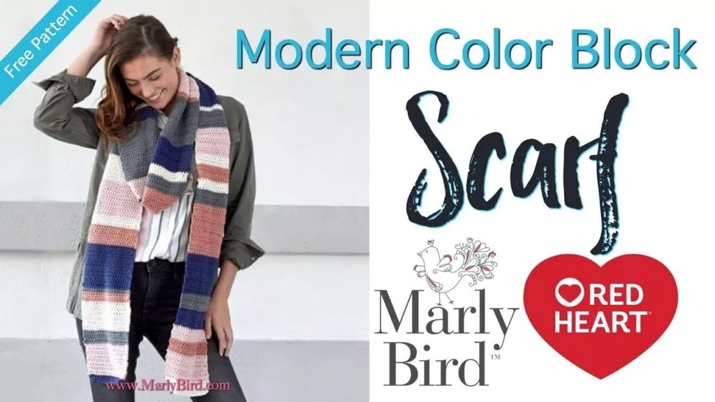 Video Tutorial with Marly Bird-How to Crochet the Modern Color Block Scarf