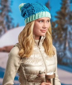 14 FREE Blue Hats Patterns-Duo-Tone Cabled Hat