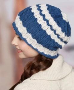 14 FREE Blue Hats Patterns-Wavy Skull Cap