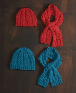 14 FREE Blue Hats Patterns-Cable Beanie & Scarf