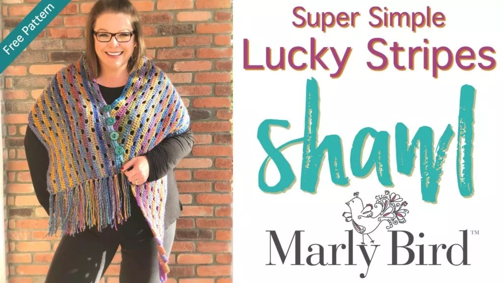 FREE Crochet Shawl Pattern-Lucky Stripes Shawl