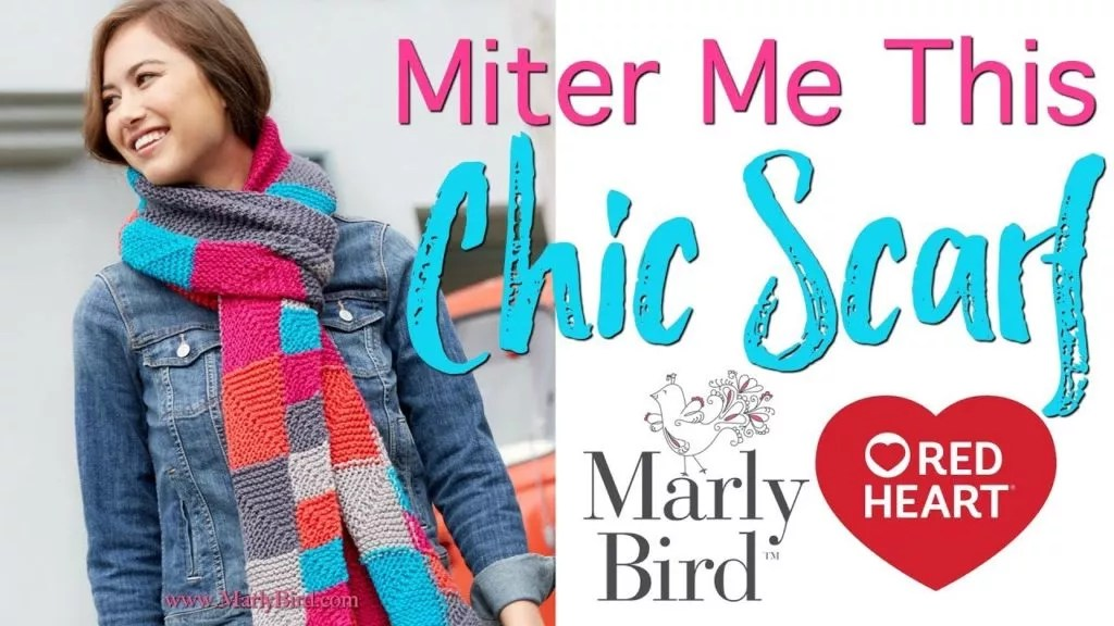 Mitered Squares Video Tutorial with Marly Bird-Learn to Knit the Miter Me This Chic Scarf