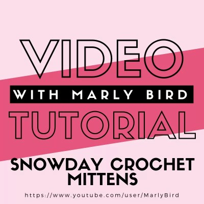 DIY Kids Snow-day Crochet Mittens with Video Tutorial