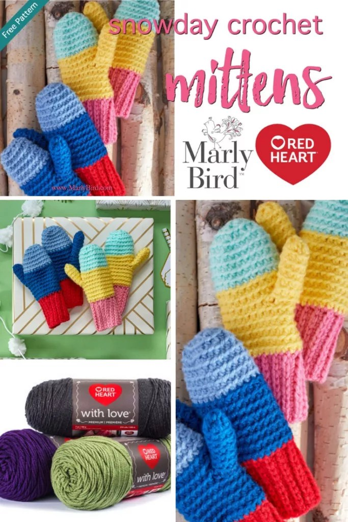 Diy Kids Snow Day Crochet Mittens With Video Tutorial Marly Bird