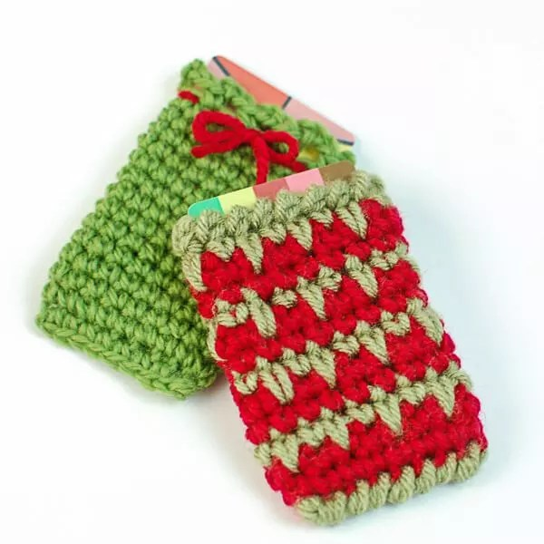 Crochet Gift Card Holder, Crochet Gift Card Pouch designed by Petals to Picots