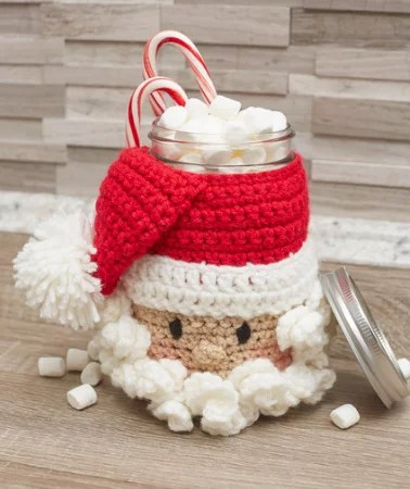 FREE Crochet Santa Jar Cover designed by Michele Wilcox