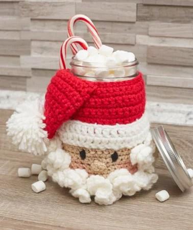 FREE Crochet Santa Jar Cover designed by Michele Wilcox