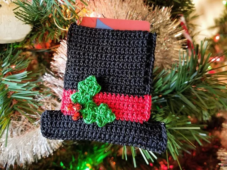 Crochet Gift Card Holder-Snowman Hat Gift Card Holder and Ornament