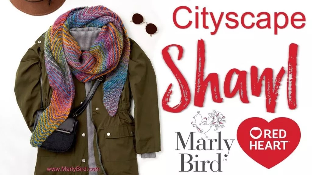 FREE Knit Beginner Shawl with Video Tutorial-The Cityscape Shawl